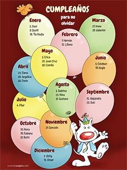 Calendarios 2020 para imprimir. Calendario perpetuo de cumpleaños - Globos