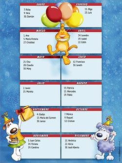 Calendarios 2020 para imprimir. Calendario perpetuo de cumpleaños - Mascotas