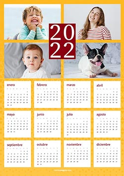 Calendarios 2020 para imprimir. Calendario 2022 - para 4 fotos
