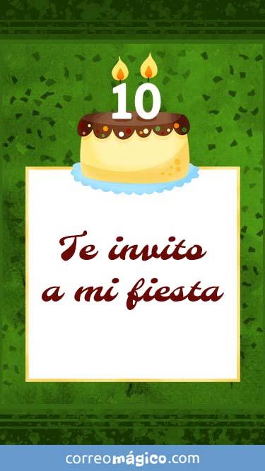 Tarjeta de Invitacion de Cumpleaños de 10 años para whatsapp para enviar desde tu celular o computadora