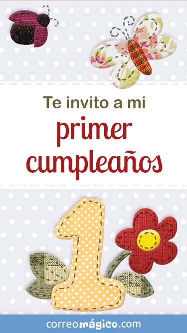 Tarjeta de Invitacion de Cumpleaños de 1 año para whatsapp para enviar desde tu celular o computadora