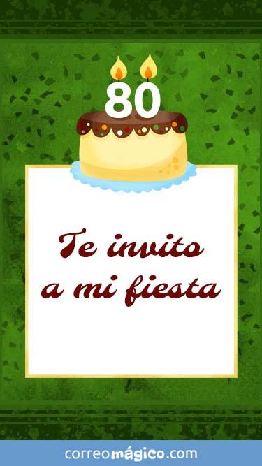 Tarjeta de Invitacion de Cumpleaños de 80 años para whatsapp para enviar desde tu celular o computadora