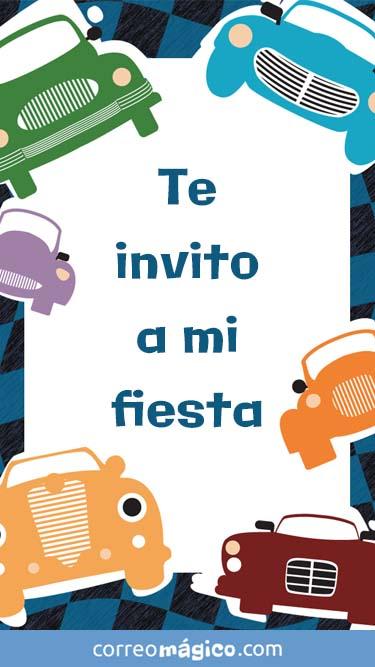 Tarjeta de Invitacion de Cumpleaños con autos para whatsapp para enviar desde tu celular o computadora