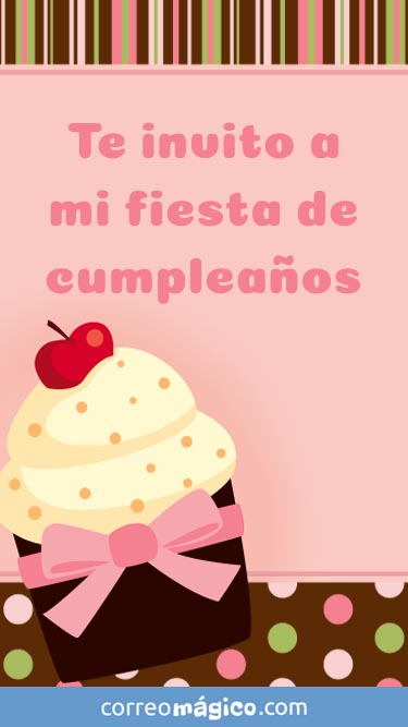 Tarjeta de Invitacion a fiesta de Cumpleaños de nena para whatsapp para enviar desde tu celular o computadora