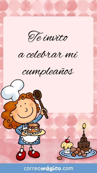 Tarjeta de Invitacion de Cumpleaños de Cocinerita para whatsapp para enviar desde tu celular o computadora