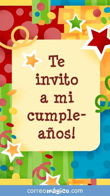 Tarjeta de Invitacion a fiesta de Cumpleaños para whatsapp para enviar desde tu celular o computadora