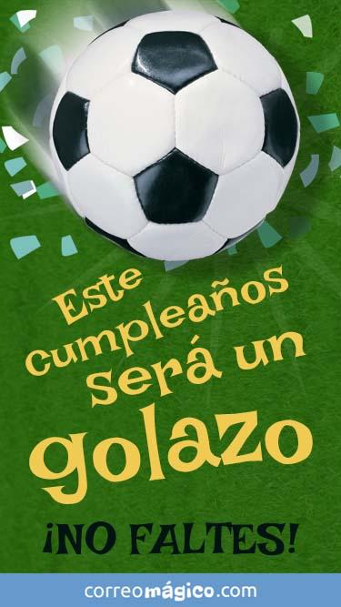 Tarjeta de Invitacion de Cumpleaños con futbol para whatsapp para enviar desde tu celular o computadora