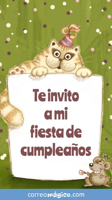 Tarjeta de Invitacion a fiesta de Cumpleaños gato dibujado para whatsapp para enviar desde tu celular o computadora