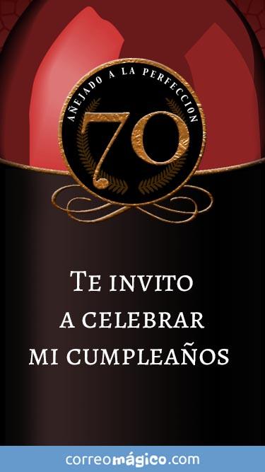 Tarjeta de Invitacion de Cumpleaños de 70 años para whatsapp para enviar desde tu celular o computadora