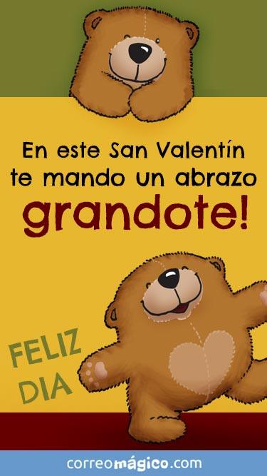 En este San Valentín te mando un abrazo GRANDOTE. Tarjeta de San Valentín para whatsapp para enviar desde tu celular o computadora