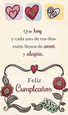Que hoy y cada uno de tus días estén llenos de amor y alegría. Feliz cumpleaños